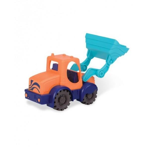 美國【B.Toys】 小挖人推土機(亮橘)