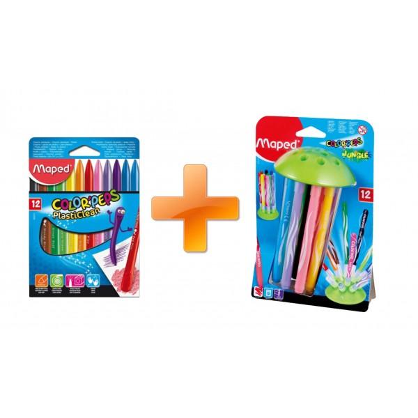 [ Maped ] 特價組合(贈品)  12色可擦式三角蠟筆+水母吸盤12色彩色筆